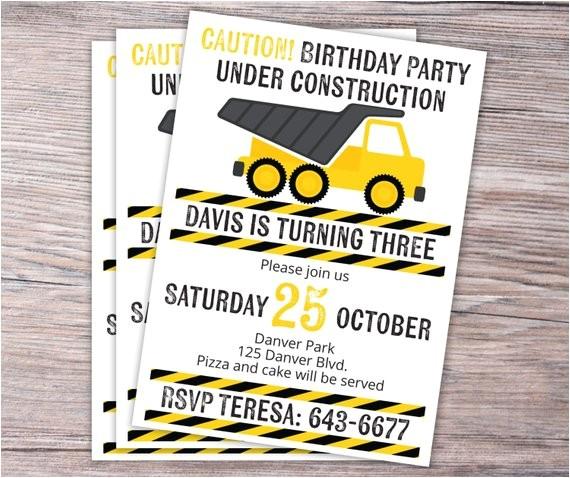 under construction birthday invitation
