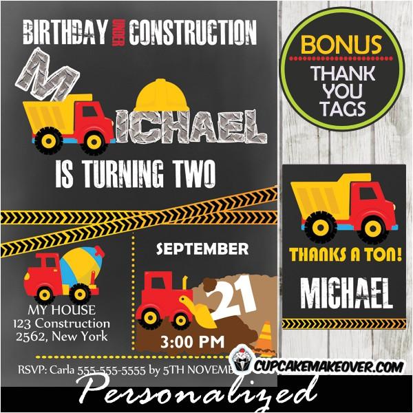 under construction birthday invitation d7