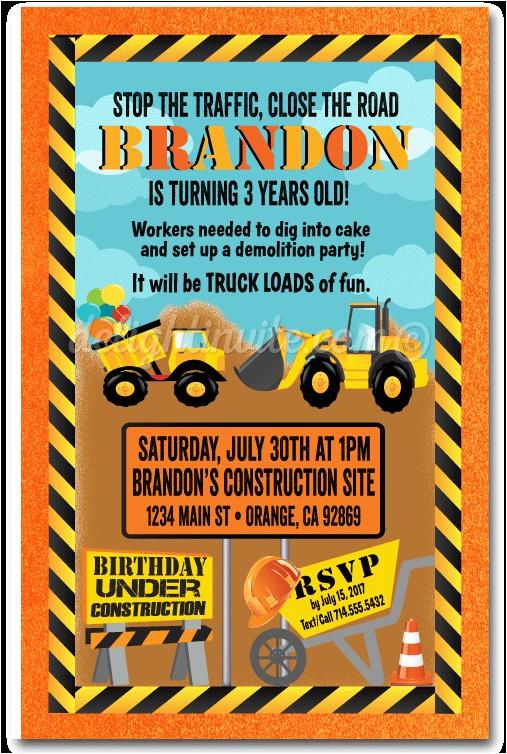 under construction dumptruck birthday invitations p 4836