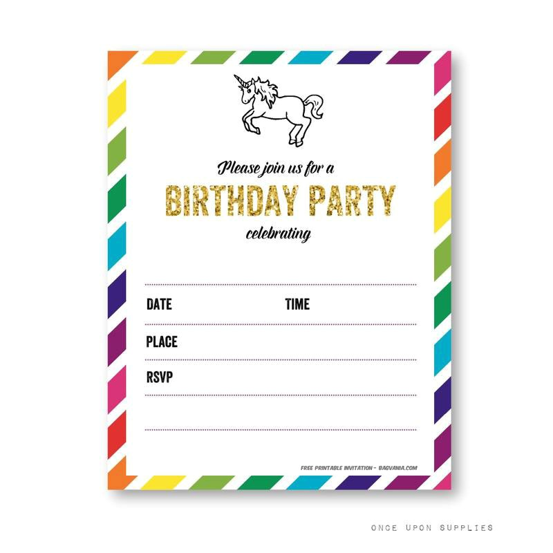 free printable golden unicorn birthday invitation template