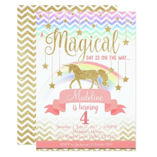 magical rainbow unicorn birthday party invitation 256172054183554069