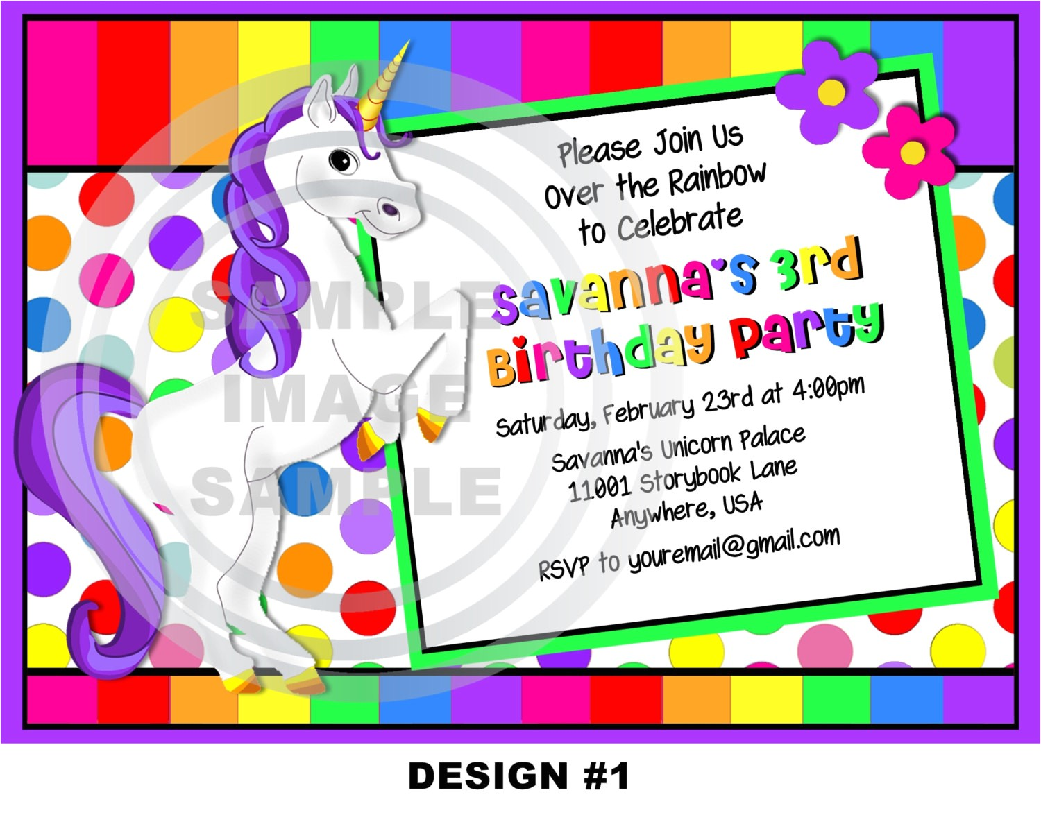 unicorn birthday party invitations 2
