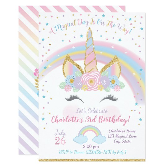 unicorn birthday invitation unicorn party invite 256237450878349368