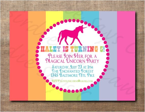 unicorn birthday party custom printable