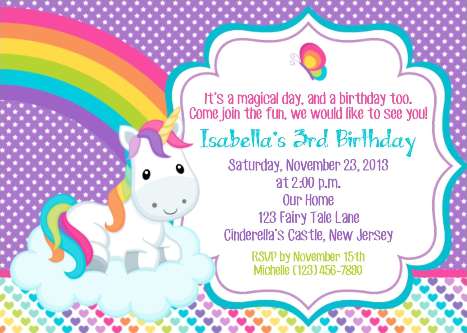 unicorn invitation personalized custom
