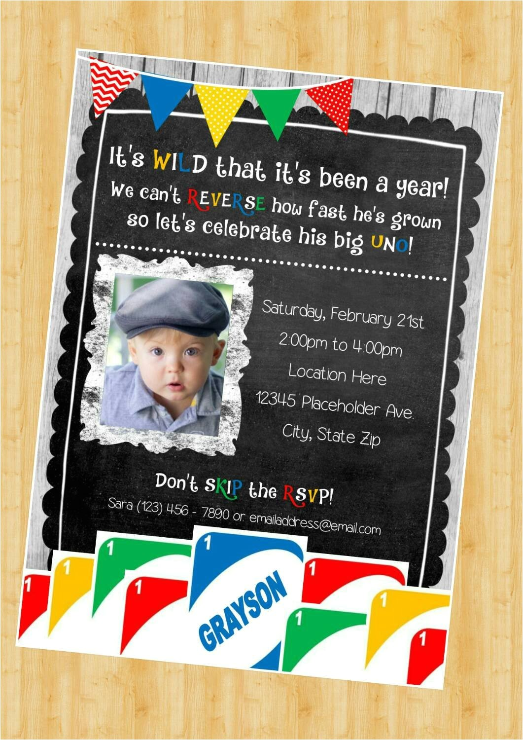 uno birthday invite first birthday