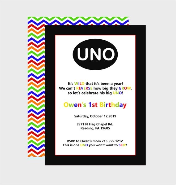 uno birthday party invitations colorful