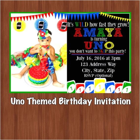 uno themed birthday party invitation uno