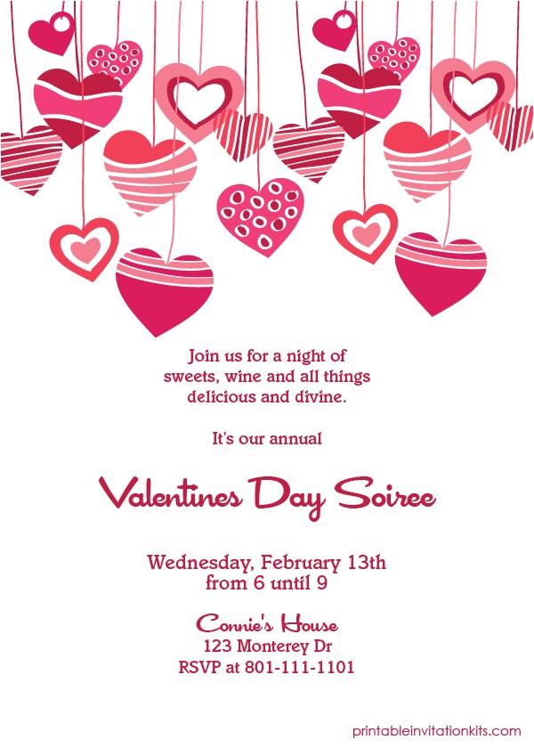hearts valentines invitation printable invitation kits
