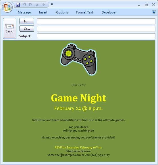 email message video game night invitation 312