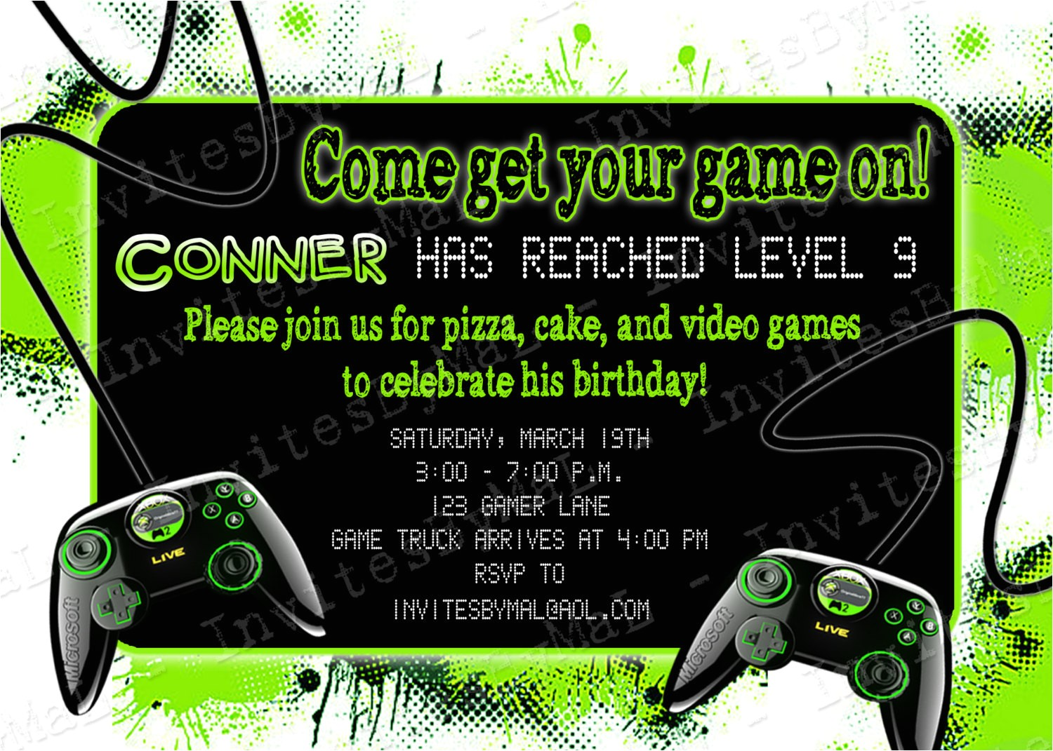 video game party invitations
