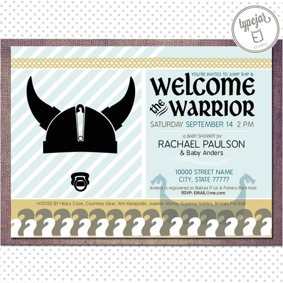 printable warrior viking baby shower boy