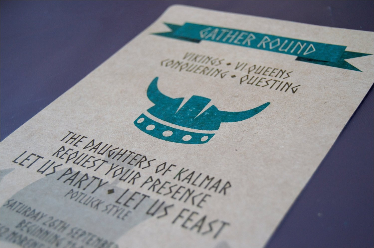 viking invitation birthday family