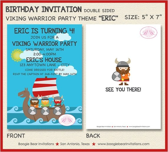 viking warrior birthday party invitation