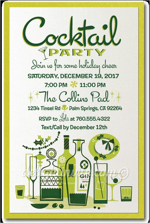 Vintage Cocktail Party Invitations Holiday Party Invitations Custom Invitations and