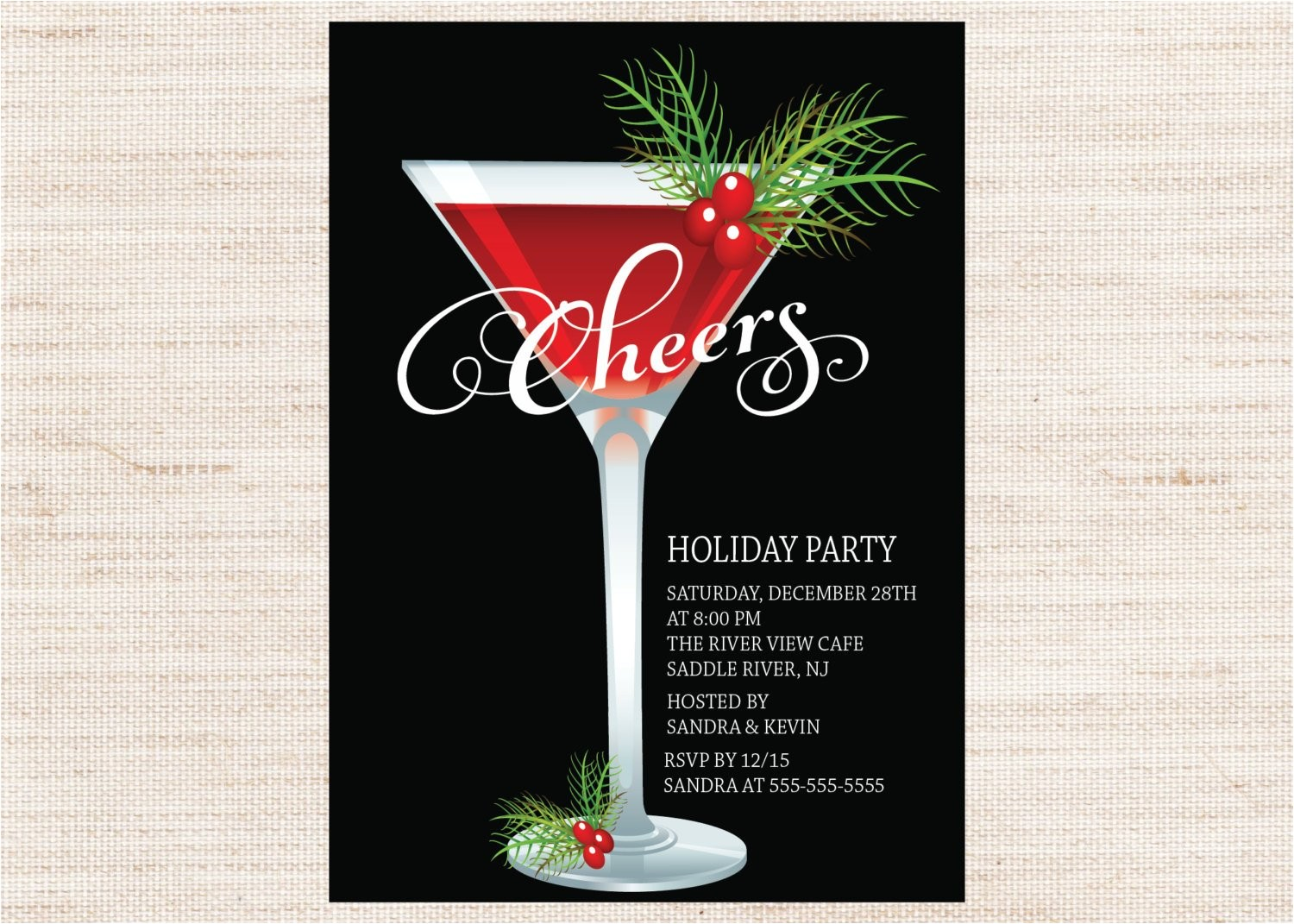 retro holiday cocktail party invitation