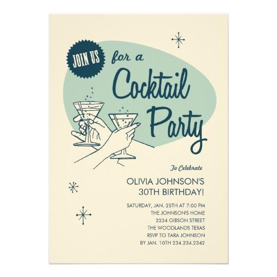 retro cocktail party invitations 161366605159368428