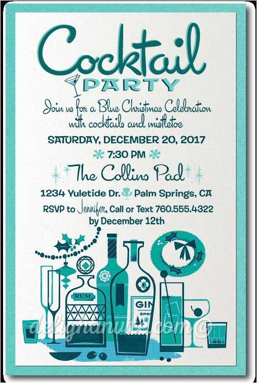 retro midcentury modern cocktail holiday party invitation p 4662