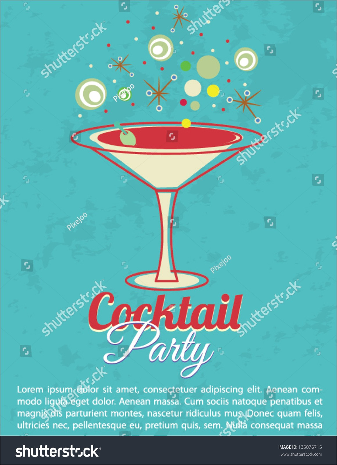 vintage cocktail party invitation poster 135076715
