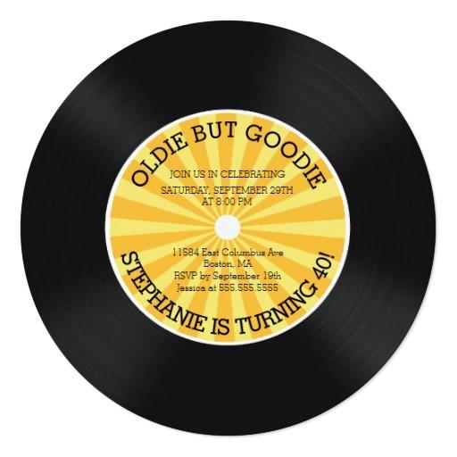 retro vinyl record birthday party invitation 161294804529295556