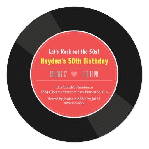 retro vinyl record birthday party invitations 256370784560788670