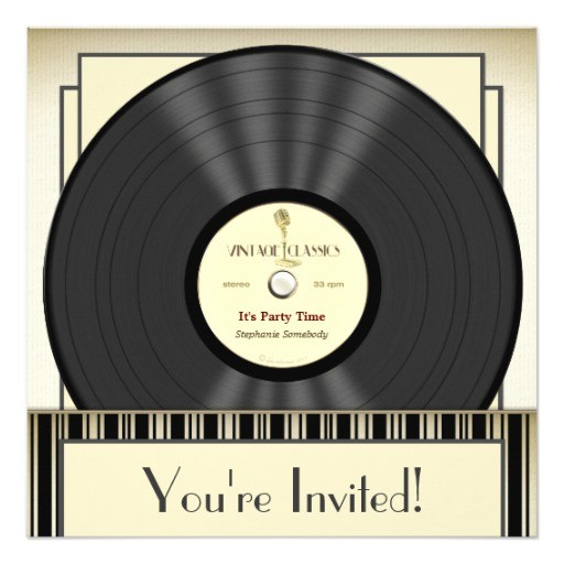vintage microphone vinyl record party invitations 161171047956527675