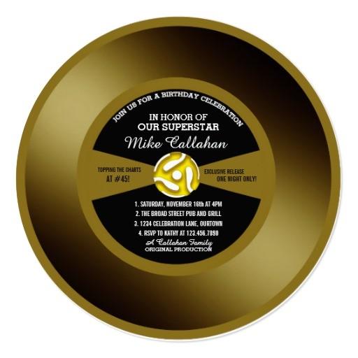 vinyl 45 gold record birthday party invitation 256672077454550837