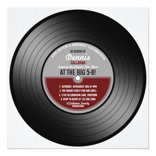 vinyl record birthday party invitation 161330579282628121