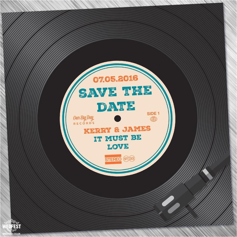 vinyl record wedding invites save the dates
