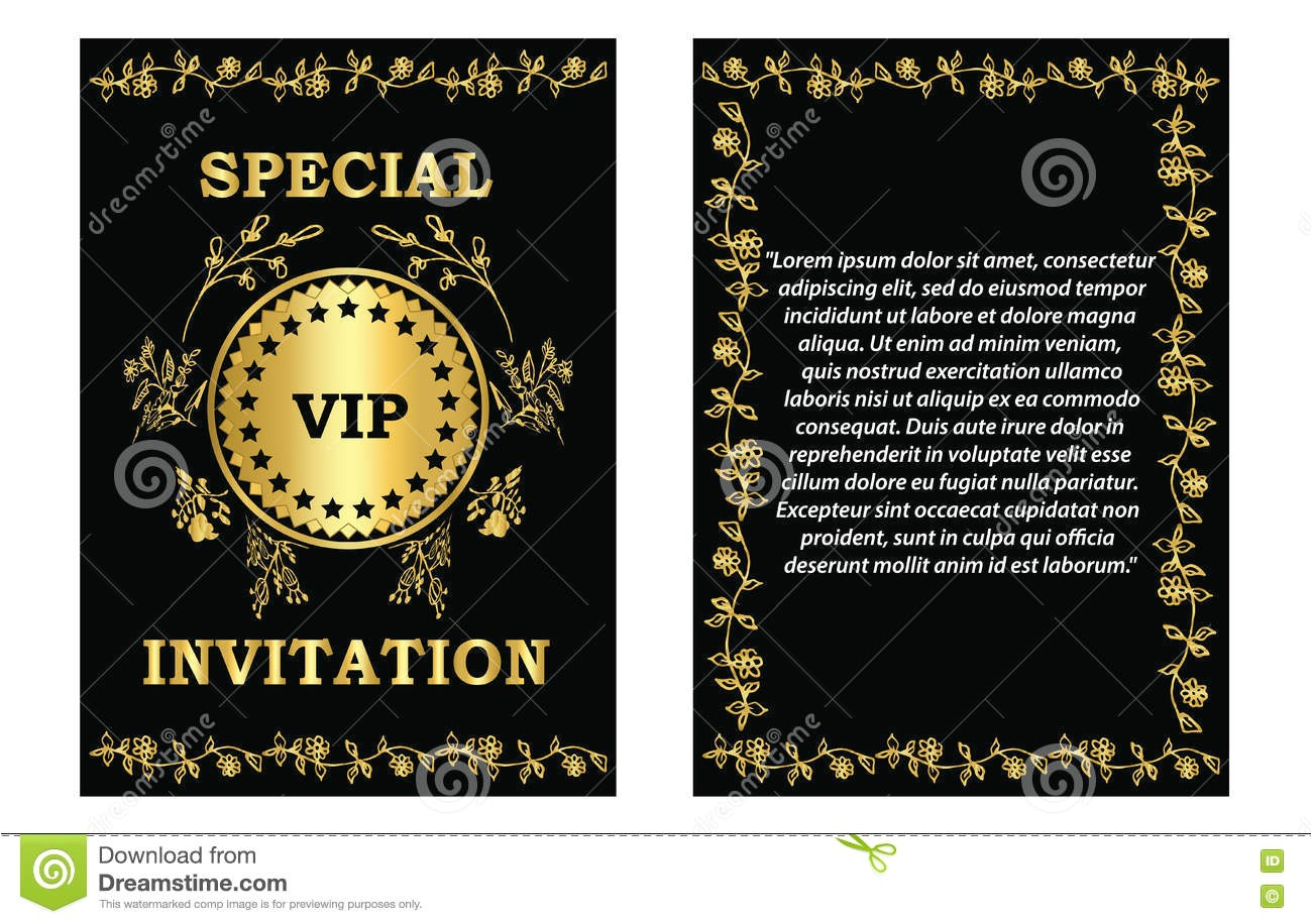 stock illustration golden vip invitation template card can be used business company event party image75747082