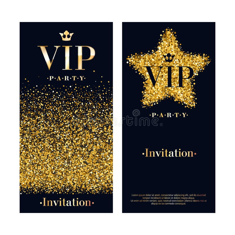 stock illustration vip invitation card premium design template party poster flyer black golden glow glitter dust decorative background image74755429