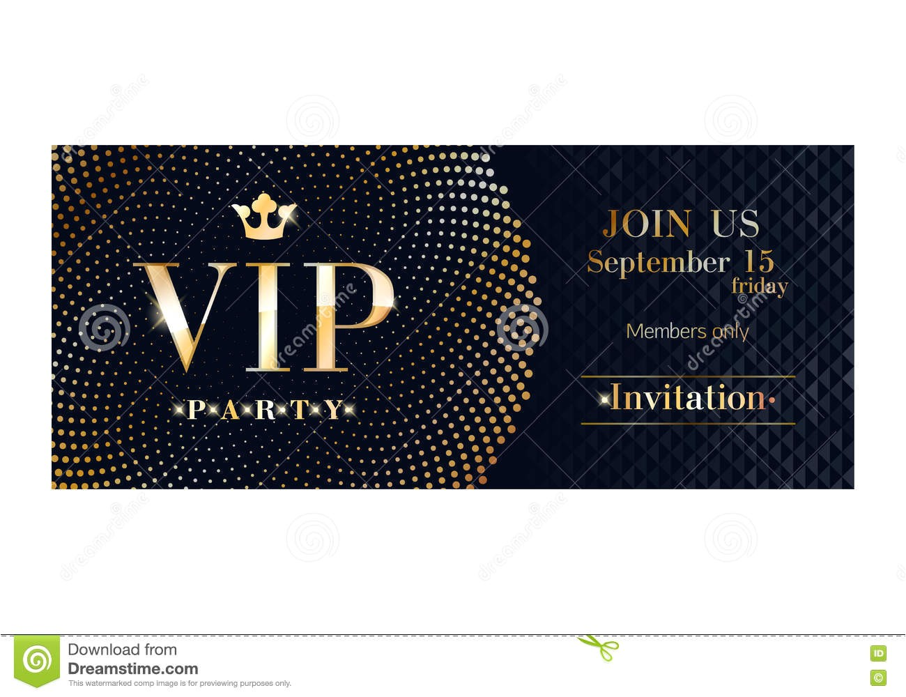 stock illustration vip invitation card premium design template club party poster flyer black golden sequins circles pattern decorative vector image73491833