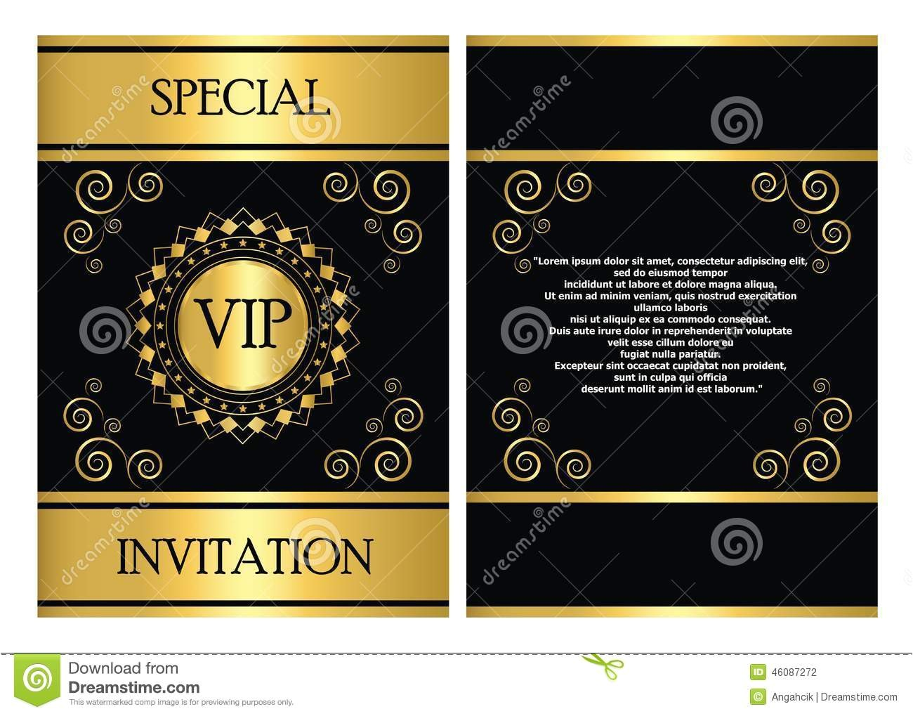 stock illustration vip invitation card template golden can be used business company event party image46087272