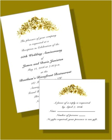 Vistaprint 50th Wedding Anniversary Invitations 50th Wedding Anniversary Invitations with Rsvp Cards