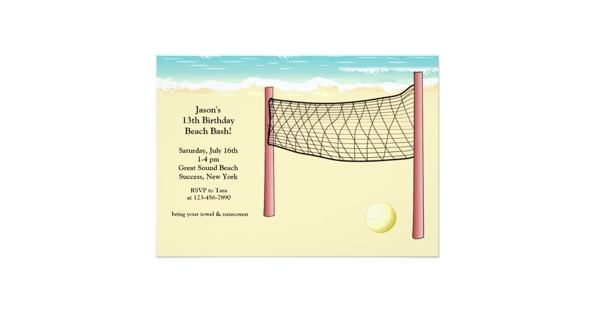beach volleyball invitation 161457744910872376