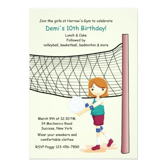 girl volleyball player birthday party invitations 256071206868946744