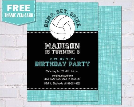 birthday party invitations volleyball
