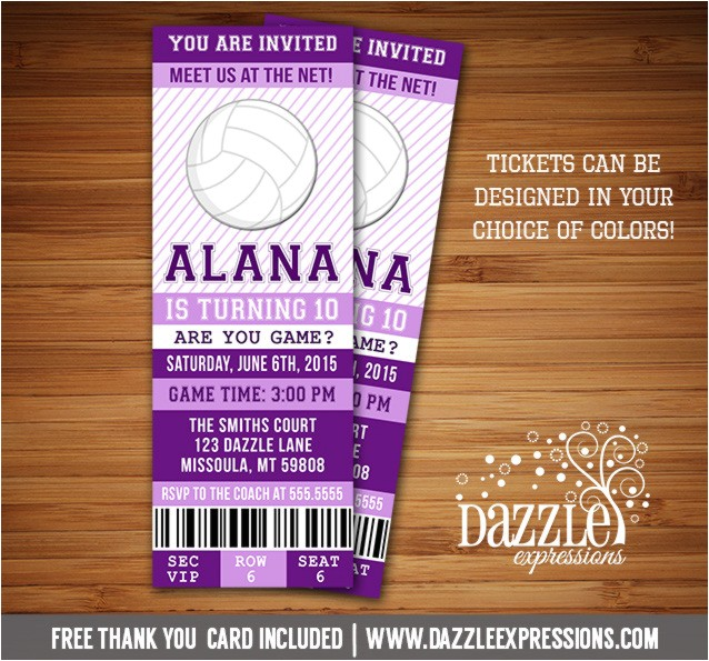 volleyball ticket birthday invitation free thank you card included