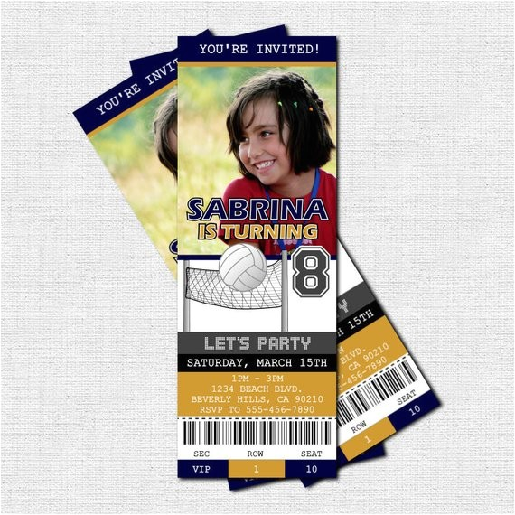 volleyball ticket invitations birthday