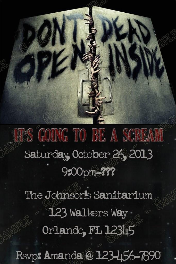 walking dead halloween party invitation