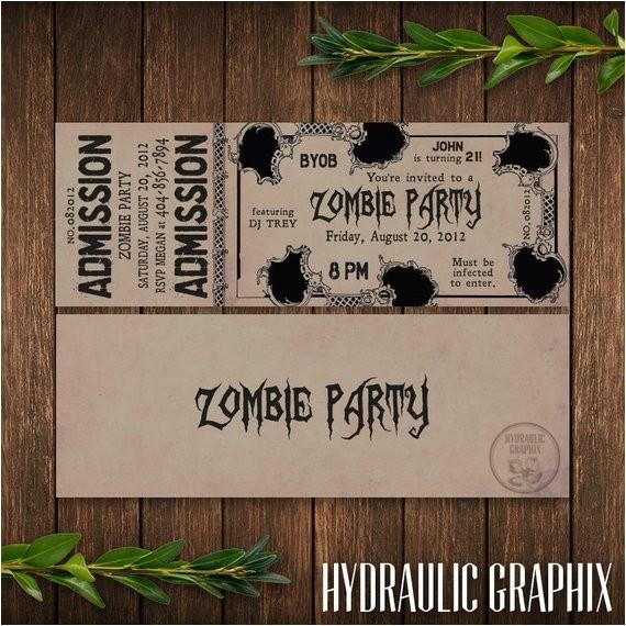 zombie birthday party ticket invitation classic
