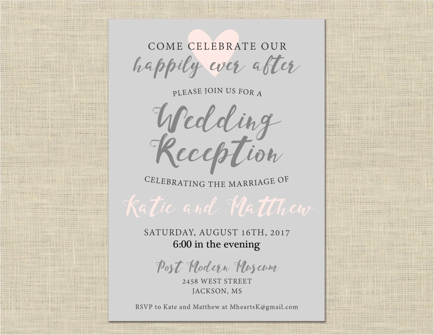 printable wedding reception invitation
