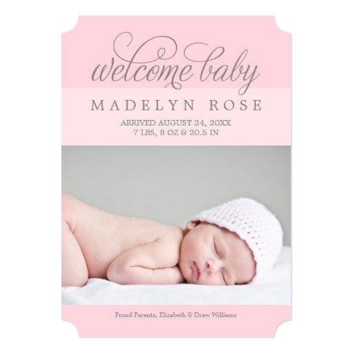 welcome baby girl photo birth announcement 256974116443534212