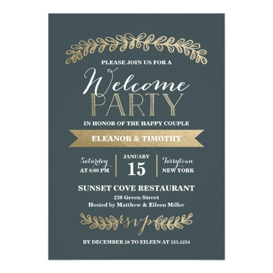 gold laurels slate wedding welcome party invite 256805165082626008