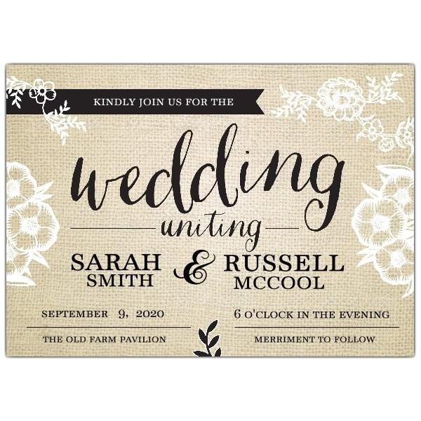 fancy burlap wedding invitations p 639 75 wd135