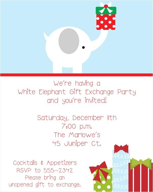 white elephant gift exchange invitations