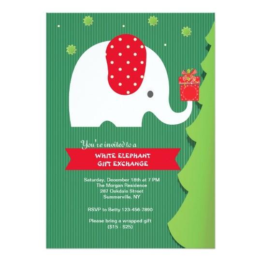 white elephant gift exchange party invitation 256625076061952285