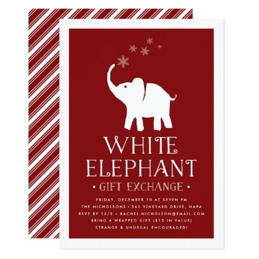 white elephant gift exchange party invitation 256078353995746250