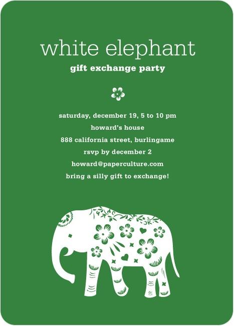 white elephant holiday party invitation aka secret santa p 4919