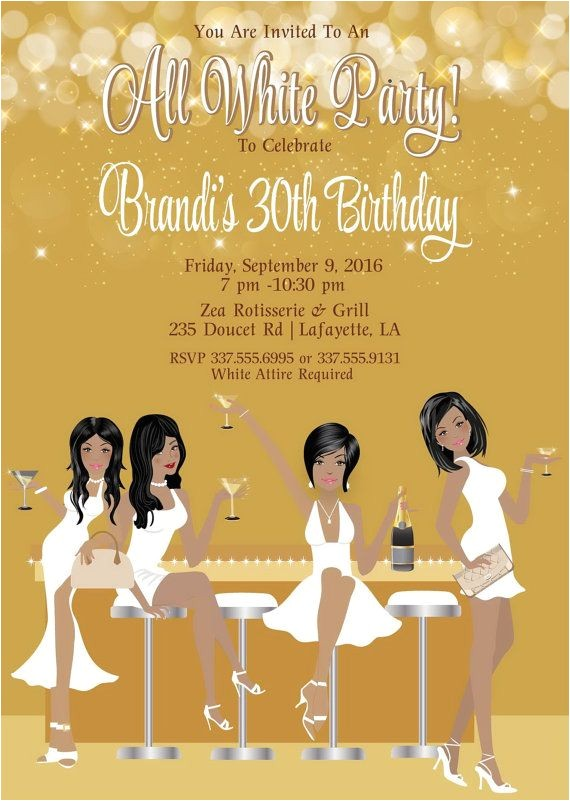 White Party theme Invitations All White Party Invitation White Birthday Party Invite